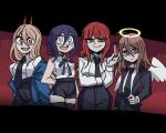+_+ 1boy 3girls alcohol angel angel_devil_(chainsaw_man) angel_wings arm_behind_back black_jacket black_skirt blue_jacket brown_eyes brown_hair chainsaw_man choker cup demon_girl demon_horns drinking_glass evil_smile feathered_wings formal halo hell helltaker highres horns jacket long_hair long_sleeves multiple_girls off_shoulder parody pencil_skirt pink_hair ponytail power_(chainsaw_man) red_horns redhead reze_(chainsaw_man) sharp_teeth shirt skirt sleeveless smile style_parody teeth udonmaru_men vanripper_(style) white_shirt white_wings wine wine_glass wings yellow_eyes