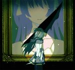 1girl akemi_homura argyle argyle_legwear arms_at_sides back_bow black_eyes black_hair black_legwear bow capelet closed_mouth collarbone covered_mouth cowboy_shot damaged dark_background darkness faceless faceless_female facing_away flat_chest floating_hair frilled_skirt frills from_side goddess_madoka grey_bow grey_capelet grey_skirt hair_over_mouth hair_ribbon holding holding_knife knife light light_particles light_smile long_hair long_sleeves looking_at_viewer mahou_shoujo_madoka_magica pantyhose pc_(z_yu) picture_frame pink_hair pleated_skirt portrait_(object) profile red_ribbon ribbon simple_background skirt solo spotlight standing straight_hair symbolism torn very_long_hair