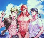 3boys achilles_(fate) black_shirt blue_hair clenched_teeth clouds cowboy_shot cu_chulainn_(fate)_(all) earrings fate/grand_order fate_(series) fundoshi green_hair hair_over_one_eye hair_strand innertube japanese_clothes jewelry lancer long_hair male_focus male_swimwear messy_hair mori_nagayoshi_(fate) multiple_boys muscular muscular_male navel ocean open_clothes open_shirt ponytail redhead sharp_teeth shirt sky standing swim_trunks swimwear teeth uni_(nico02) water white_shirt