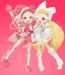 2girls :d ;d bangs blonde_hair boots brown_eyes double_bun dress earrings full_body gloves gotoh510 harukaze_doremi hat highres holding holding_wand jester_cap jewelry knee_boots long_hair looking_at_viewer low_twintails makihatayama_hana multiple_girls ojamajo_doremi one_eye_closed open_mouth outstretched_arm pink_background pink_dress pink_eyes pink_footwear pink_gloves pink_headwear pleated_dress pleated_skirt puffy_short_sleeves puffy_sleeves redhead short_hair short_sleeves skirt smile standing twintails very_long_hair wand white_dress white_footwear white_gloves white_headwear witch_hat