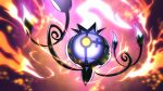 absurdres blurry chandelure commentary fire from_below gen_5_pokemon glowing glowing_eyes higa-tsubasa highres no_humans pokemon pokemon_(creature) solo yellow_eyes
