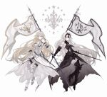 2girls ahoge armor armored_dress bare_shoulders blonde_hair blue_eyes breasts chain dress fate/grand_order fate_(series) flag headpiece holding holding_flag holding_weapon jeanne_d'arc_(alter)_(fate) jeanne_d'arc_(fate) jeanne_d'arc_(fate)_(all) long_hair looking_at_viewer multiple_girls nakamura_(wmfp3834) silver_hair very_long_hair weapon yellow_eyes