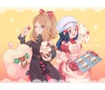 2girls :d alcremie alcremie_(strawberry_sweet) apron artist_name baking_sheet bare_shoulders black_hair blush bow buttons chef_hat closed_mouth dawn_(pokemon) dress eyelashes food fruit gen_5_pokemon gen_8_pokemon grey_eyes hair_bow hair_ornament hairclip hat holding light_brown_hair long_hair long_sleeves mootecky multiple_girls open_mouth oven_mitts pokemon pokemon_(creature) pokemon_(game) pokemon_masters_ex red_mittens serena_(pokemon) sidelocks smile strawberry tongue whimsicott white_headwear