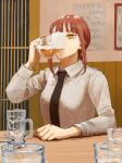 1girl alcohol beer black_neckwear braid braided_ponytail breasts chainsaw_man collared_shirt commentary cup dress_shirt drinking highres holding holding_cup indoors long_sleeves looking_at_viewer makima_(chainsaw_man) medium_breasts medium_hair nachanman76 necktie red_eyes redhead restaurant ringed_eyes shirt sitting solo table upper_body white_shirt