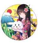 1girl animal bamboo bangs bird black_hair chicken chinese_zodiac egasumi floral_print flower hair_flower hair_ornament happy_new_year holding holding_animal holding_bird japanese_clothes kimono long_hair mountain new_year original pink_kimono redhead smile standing wide_sleeves year_of_the_rooster yuujin_(yuzinn333)