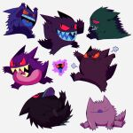 >_< :i absurdres arms_up black_eyes closed_eyes commentary gastly gen_1_pokemon gengar heart heart_in_mouth highres megadinkloid open_mouth pokemon pokemon_(creature) sharp_teeth simple_background smile teeth tongue tongue_out transformed_ditto white_background