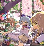 2girls apron black_dress blonde_hair blouse blue_bow blue_dress blue_eyes blue_hair blue_ribbon book bow braid buttons cirno dress dress_shirt fairy fairy_wings frilled_dress frills hair_bow hat hat_bow ice ice_wings interior juliet_sleeves kirisame_marisa long_sleeves mini-hakkero moyazou_(kitaguni_moyashi_seizoujo) multiple_girls pinafore_dress puffy_short_sleeves puffy_sleeves purple_bow red_bow red_ribbon ribbon room shirt short_hair short_sleeves table touhou waist_apron white_blouse white_bow white_shirt window wing_collar wings witch_hat yellow_eyes