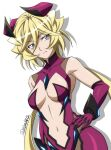 1girl blonde_hair blue_eyes bodysuit breasts carol_malus_dienheim clothing_cutout elbow_gloves gloves hand_on_hip highres long_hair looking_at_viewer medium_breasts miyabi_mt-b mole mole_under_eye navel_cutout older purple_bodysuit senki_zesshou_symphogear shiny shiny_hair shiny_skin simple_background solo standing white_background