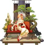 1girl ask_(askzy) azur_lane bare_shoulders bow cat center_frills couch earrings feet floral_print frills highres japanese_clothes jewelry kimono legs long_hair off-shoulder_kimono off_shoulder official_alternate_costume official_art orange_hair pink_eyes promotional_art red_footwear red_sash richelieu_(azur_lane) richelieu_(evergreen_prophecy)_(azur_lane) sash sitting solo transparent_background white_kimono wide_sleeves wooden_floor