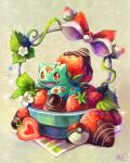 absurdres bow bulbasaur chocolate claws commentary fangs food fruit gen_1_pokemon highres koriarredondo looking_at_viewer looking_to_the_side no_humans open_mouth orange_eyes poke_ball poke_ball_(basic) pokemon pokemon_(creature) signature smile solo sparkle strawberry tongue