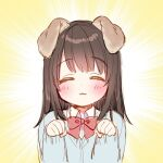 1girl :3 ^_^ animal_ears bangs black_hair blue_cardigan blush bow cardigan closed_eyes closed_mouth collared_shirt commentary_request dog_ears eyebrows_visible_through_hair facing_viewer hands_up highres long_hair long_sleeves original paw_pose red_bow shirt sleeves_past_wrists solo upper_body usashiro_mani white_shirt