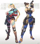 2girls absurdres adapted_costume adidas ahoge ammunition ammunition_belt ankle_holster apex_legends bandolier belt belt_pouch black_gloves blue_footwear body_writing boots bracelet braid breasts brown_eyes brown_footwear brown_hair cammy_white character_name chun-li combat_knife commentary crossover cuffs double_bun earpiece english_commentary fingerless_gloves fingernails full_body garrison_cap gloves gun handcuffs hat hichi highleg highleg_leotard highres holding holding_gun holding_weapon holster huge_ahoge jewelry knee_pads knife leotard long_hair medium_breasts military_operator multiple_girls pouch red_gloves reloading ribbed_leotard scar scar_on_cheek scar_on_face shoes short_hair shotgun shotgun_shells shoulder_holster shoulder_pads single_elbow_pad sleeveless smoke smoking_gun sneakers spiked_bracelet spikes standing stirrup_legwear street_fighter street_fighter_zero_(series) striped studded_gloves thick_thighs thigh_pouch thighs toeless_legwear trigger_discipline twin_braids typo unitard updo vambraces vertical_stripes very_long_hair weapon weapon_request wireless yellow_footwear