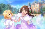 blush brown_eyes brown_hair dress idolmaster_cinderella_girls_starlight_stage long_hair shimamura_uzuki smile white_day wink