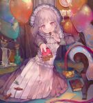 1girl ahoge apron balloon book candy candy_wrapper cha_goma chair chocolate chocolate_bar eating food food_on_face highres long_sleeves looking_at_viewer maid maid_apron maid_headdress offering on_ground original outstretched_arm short_hair silver_hair solo violet_eyes white_apron