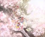 1girl animal_ears bare_shoulders blonde_hair cherry_blossoms dango eating flower food forehead fox_ears fox_girl fox_tail hair_ornament hand_up highlights highres hololive looking_at_viewer makeup multicolored_hair omaru_polka outdoors petals sitting solo sushida0k tail thigh-highs virtual_youtuber wagashi white_legwear