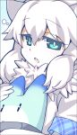1girl :o animal_ears aqua_eyes bangs blue_background border bright_pupils chestnut_mouth close-up eyebrows_visible_through_hair eyes_visible_through_hair face fang from_side fur_collar gloves gradient gradient_background grey_border hair_between_eyes half-closed_eyes hand_up holding kemono_friends kemono_friends_3 lion_ears long_hair looking_at_viewer looking_to_the_side lucky_beast_(kemono_friends) parted_lips plaid shirt short_sleeves sidelocks skin_fang sleepy two-tone_background upper_body wavy_hair white_background white_gloves white_hair white_lion_(kemono_friends) white_pupils white_shirt yamai
