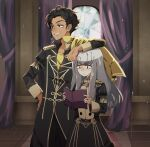 1boy 1girl arm_rest book bright_pupils brown_hair claude_von_riegan cowboy_shot curtains dark_skin dark_skinned_male earrings eine_(eine_dx) elbow_on_another's_head fire_emblem fire_emblem:_three_houses garreg_mach_monastery_uniform green_eyes grin height_difference highres holding holding_book indoors jewelry long_hair long_sleeves lysithea_von_ordelia sidelocks smile twitter_username white_hair white_pupils
