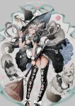 1girl animal animal_ears black_dress bow broom cat cat_ears cat_tail deadprinceee dress grey_hair hat highres lace long_hair original tail witch witch_hat