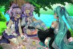 3girls :d aqua_hair azur_lane black_legwear blue_eyes boots bracelet breasts choujigen_game_neptune closed_eyes commission crossover cup d-pad d-pad_hair_ornament detached_sleeves drawstring dress eyebrows_visible_through_hair gloves grass guitar hair_ornament hair_ribbon hairclip hatsune_miku holding holding_instrument hood hood_down hooded_jacket indian_style instrument jacket javelin_(azur_lane) jewelry light_blush lindaroze long_hair long_sleeves messy_hair multiple_crossover multiple_girls neptune_(neptune_series) neptune_(series) open_mouth outdoors picnic pleated_skirt ponytail purple_hair ribbon seiza shirt single_glove sitting skirt sleeveless sleeveless_shirt smile striped striped_legwear thigh-highs tree twintails very_long_hair vocaloid white_gloves