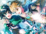 2boys aether_(genshin_impact) ahoge androgynous bangs beret black_hair blonde_hair blue_hair blush bow braid brooch cape collared_cape collared_shirt corset earrings eyebrows_visible_through_hair feathers flower frilled_sleeves frills genshin_impact gradient_hair green_eyes green_headwear green_shorts hair_between_eyes hat jewelry long_hair long_sleeves male_focus multicolored_hair multiple_boys open_mouth scarf shirt short_hair_with_long_locks shorts single_earring smile tassel tassel_earrings twin_braids venti_(genshin_impact) vision_(genshin_impact) white_flower white_shirt yamakawa_umi yellow_eyes