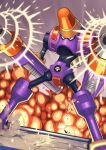 1boy arm_cannon armor blurry commentary_request depth_of_field dual_wielding dutch_angle explosion firing grey_background highres holding looking_to_the_side male_focus mega_man_(series) mega_man_battle_network napalmman.exe netnavi solo sound_effects standing tesshii_(riza4828) weapon