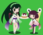 2girls back_bow birthday_cake black_hair bob_cut bow cake chibi cobalta eyebrows_visible_through_hair food geta green_hairband hair_ornament hairband headwear japanese_clothes kimono kiritanpo_(food) large_bow long_hair multiple_girls obi open_mouth purple_skirt sash short_hair short_kimono short_yukata skirt smile sparkle sparkling_eyes touhoku_kiritan touhoku_zunko vocaloid voiceroid white_legwear wide_sleeves yukata