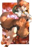 1girl animal_ears bike_shorts black_shorts blush boots brown_shirt brown_skirt collared_shirt commentary_request dhole_(kemono_friends) dog_ears dog_girl dog_tail extra_ears eyebrows_visible_through_hair finger_gun frilled_skirt frills gloves hat_around_neck helmet high-waist_skirt highres kemono_friends kemono_friends_3 light_brown_hair multicolored_hair neckwear official_alternate_costume one_eye_closed pith_helmet shirt short_hair short_sleeves shorts shorts_under_skirt skirt solo tail thin_(suzuneya) two-tone_hair two-tone_shirt uniform white_gloves white_hair white_shirt