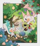 alternate_color berry_(pokemon) bucket carrying character_name chikafuji closed_eyes day faucet gen_2_pokemon gen_4_pokemon highres holding natu no_humans open_mouth outdoors pachirisu pokemon pokemon_(creature) shiny_pokemon standing tongue tooth tree water