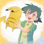 1boy :d ash_ketchum bangs blush brown_eyes buttons collared_shirt emphasis_lines gen_1_pokemon green_hair hair_between_eyes highres holding holding_pokemon male_focus open_mouth pikachu pokemon pokemon_(anime) pokemon_(classic_anime) pokemon_(creature) shirt short_sleeves smile stsknprpr teeth tongue yellow_shirt
