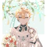 1boy aether_(genshin_impact) ahoge ascot bangs blonde_hair blurry blurry_foreground bouquet braid closed_mouth earrings feather_earrings feathers flower formal frilled_sleeves frills genshin_impact gloves hair_between_eyes highres jewelry long_hair looking_at_viewer male_focus red_flower single_earring smile suit tabibitowayo white_flower white_gloves white_suit yellow_eyes