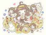 4girls ahoge bangs black_hair brown_hair bush chibi cookie cup flower food glasses hair_ornament hairclip haruna_(kancolle) headgear heart hiei_(kancolle) highres japanese_clothes kantai_collection kirishima_(kancolle) kongou_(kancolle) long_hair long_sleeves multiple_girls nada_namie nontraditional_miko open_mouth petals pleated_skirt ribbon-trimmed_sleeves ribbon_trim rose short_hair sidelocks signature simple_background skirt smile teacup teapot wide_sleeves