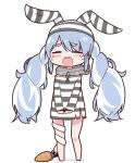 1girl animal_ears bangs bare_legs bare_shoulders black_headwear black_shirt blue_hair blush bottomless bound bound_wrists braid breasts carrot chain closed_eyes collar crying cuffs don-chan_(usada_pekora) eyebrows_visible_through_hair handcuffs hat highres hikimayu hololive long_hair multicolored_hair official_alternate_costume open_mouth popup prison_clothes rabbit_ears rabbit_girl safety_pin shirt short_eyebrows simple_background small_breasts solo streaked_hair striped striped_headwear striped_shirt swept_bangs tearing_up tears thick_eyebrows twin_braids twintails usada_pekora virtual_youtuber white_background white_hair white_headwear white_shirt