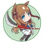 1girl animal_ears bangs black_legwear blue_eyes blue_jacket blush boots bow brown_footwear brown_hair character_name chibi closed_mouth commentary_request dated dress ear_bow eyebrows_visible_through_hair grass_wonder_(umamusume) green_background holding holding_polearm holding_weapon horse_ears horse_girl horse_tail jacket long_hair long_sleeves looking_at_viewer naginata pantyhose polearm shirasu_youichi sleeves_past_wrists solo standing striped striped_bow tail twitter_username two-tone_background umamusume very_long_hair weapon white_background white_bow white_dress