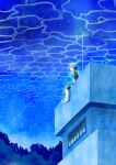 1girl absurdres barefoot blue_theme building caustics green_shirt highres huge_filesize kakine-666 looking_afar night night_sky original outdoors shirt shooting_star short_hair sky solo star_(sky) starry_sky