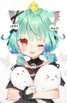 1girl absurdres ahoge animal_ear_fluff animal_ears artist_name bangs bare_shoulders bird black_choker black_dress blue_hair blush bow brooch cat_ears chick choker detached_collar detached_sleeves dress ear_piercing earrings extra_ears eyebrows_visible_through_hair frilled_straps ghost gothic_lolita gradient_hair green_hair hair_ornament highres holding hololive hololive_fantasy jewelry lolita_fashion looking_at_viewer low_twintails multicolored_hair noi_mine off-shoulder_dress off_shoulder one_eye_closed open_mouth piercing piyoko_(uruha_rushia) red_eyes ribbon see-through short_hair short_twintails skull_earrings skull_hair_ornament smile solo twintails uruha_rushia virtual_youtuber white_background