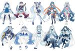 6+girls absurdres adjusting_clothes adjusting_headwear ahoge animal_costume bare_shoulders barefoot black_footwear black_legwear bloomers blue_dress blue_footwear blue_hair blue_kimono blue_ribbon blue_shorts blush_stickers borrowed_design bow bridal_legwear cane crystal detached_sleeves dress expressionless fan finger_to_head folding_fan frilled_dress frills full_body fur-trimmed_sleeves fur_trim geta gold_trim gradient_hair hagoromo hair_bow hair_ornament hair_ribbon hands_on_lap hands_together hands_up hat hatsune_miku high_heels highres holding holding_cane holding_fan holding_instrument instrument japanese_clothes kimono kneehighs krlouvf light_blue_hair long_hair looking_at_viewer multicolored_hair multiple_girls multiple_persona necktie obi off-shoulder_kimono one_eye_closed open_mouth pleated_skirt ribbon sailor_hat sash seal_costume shawl shoes shorts single_thighhigh skirt slippers smile sneakers snowflake_print standing star_(symbol) star_print suspender_shorts suspenders thigh-highs tonkori twintails underwear very_long_hair vocaloid wave_print white_background white_dress white_footwear white_headwear white_legwear wide_sleeves winged_footwear yuki_miku