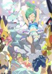 2girls ;d altaria arm_warmers armpits artist_name bangs blue_footwear boots brown_hair commentary cosplay_pikachu e_volution earrings english_commentary gen_1_pokemon gen_3_pokemon green_eyes green_hair grey_eyes hair_ornament heart idol jewelry knees light lisia_(pokemon) looking_back may_(pokemon) multiple_girls navel one_eye_closed open_mouth pigeon-toed pikachu pikachu_belle pikachu_libre pikachu_phd pikachu_pop_star pikachu_rock_star poke_ball poke_ball_(basic) pokemon pokemon_(creature) pokemon_(game) pokemon_oras shorts shorts_under_skirt showgirl_skirt single_thighhigh smile sparkle star_(symbol) striped striped_legwear thigh-highs tongue treecko