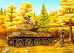 3girls artist_request autumn breasts broom brown_eyes brown_hair caterpillar_tracks clouds day dress english_commentary forest ground_vehicle hat highres long_hair military military_vehicle motor_vehicle multiple_girls nature original ponytail rock scenery short_hair signature sky t-34 t-34-85 tank tree witch