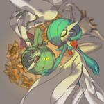 2girls aqua_hair aqua_skin bangs blurry blurry_background bob_cut closed_eyes closed_mouth colored_sclera colored_skin commentary_request flat_chest flower from_above gardevoir gen_3_pokemon green_hair green_sclera green_skin hair_over_one_eye hand_on_another's_head lowres lying multicolored multicolored_skin multiple_girls on_back on_side orange_flower oyama_yoihaya pokemon pokemon_(creature) red_eyes rotational_symmetry shiny shiny_hair short_hair symmetry two-tone_skin white_flower white_skin