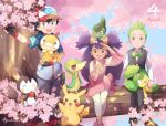 1girl 2boys :d ash_ketchum axew bangs baseball_cap black_gloves black_hair bow bowtie brown_eyes cilan_(pokemon) closed_mouth crossed_legs emolga eyelashes fingerless_gloves food gen_1_pokemon gen_5_pokemon gloves green_eyes green_hair hat highres holding holding_pokemon iris_(pokemon) jacket leggings long_hair long_sleeves mei_(maysroom) multiple_boys number on_head open_mouth pansage pants pikachu pokemon pokemon_(anime) pokemon_(creature) pokemon_bw_(anime) pokemon_on_head purple_hair sandwich scraggy shirt shoes short_sleeves sitting smile snivy standing symbol_commentary teeth tied_hair tongue vest white_shirt