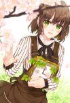 amamiya_chiharu analog_clock brown_hair cherry_blossoms clock flower green_eyes holding leaf original outdoors short_hair wall_clock