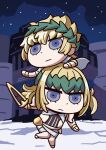 1boy 1girl april_fools blue_eyes brother_and_sister castor_(fate) chibi fate/grand_order fate_(series) highres holding holding_sword holding_weapon laurel_crown medium_hair official_art on_shoulder pollux_(fate) riyo_(lyomsnpmp) short_hair siblings sky star_(sky) starry_sky sword weapon