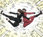 2girls action back-to-back beret black_footwear black_gloves black_hair black_headwear black_jacket black_legwear black_pants boots brown_hair clenched_hand closed_mouth commentary dress_shirt emphasis_lines flats flying_kick formal frown girls_und_panzer gloves hat high_heel_boots high_heels highres jacket kicking long_hair long_skirt long_sleeves motion_lines multiple_girls nishizumi_shiho omachi_(slabco) pant_suit pants pantyhose red_jacket red_skirt shaded_face shimada_chiyo shirt skirt skirt_suit straight_hair suit white_shirt