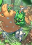 arrow_(projectile) blurry closed_mouth commentary_request day decidueye gen_7_pokemon glint grass highres holding holding_arrow leaves_in_wind no_humans outdoors pokemon pokemon_(creature) solo spareribs talons tree wind