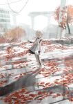 1girl absurdres autumn_leaves bandaged_leg bandages black_collar blonde_hair bridge building character_request chihuri closed_mouth collar commentary_request day dress forehead grey_eyes grey_footwear highres looking_away nier_(series) nier_reincarnation outdoors ruins shoes solo standing tree twintails white_background white_dress