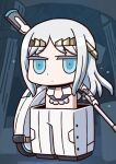 1girl april_fools chibi dot_mouth dot_nose fate/grand_order fate_(series) galatea_(fate) highres holding holding_weapon jitome long_hair looking_at_viewer mechanical_arms official_art pants riyo_(lyomsnpmp) silver_hair single_mechanical_arm solo tiara weapon