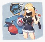 1girl bag bare_arms blonde_hair breasts bubble chung1000 commentary_request crop_top cynthia_(pokemon) duffel_bag eyelashes gen_4_pokemon gible grey_eyes hair_ornament hair_over_one_eye holding holding_poke_ball long_hair looking_at_viewer outline parted_lips poke_ball poke_ball_(basic) pokemon pokemon_(creature) pokemon_(game) pokemon_dppt riolu scarf sleeveless younger zipper_pull_tab zzz