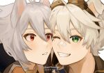 2boys animal_ears bandaid bandaid_on_face bandaid_on_nose bangs bennett_(genshin_impact) blush closed_eyes dog_boy dog_ears english_commentary eyebrows_visible_through_hair genshin_impact goggles goggles_on_head grey_hair grin hair_between_eyes highres long_hair looking_at_another male_focus multiple_boys open_mouth razor_(genshin_impact) red_eyes scar scar_on_face simple_background smile snifflesmp4 white_hair
