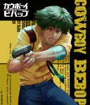 1boy absurdres aiming artist_name bandaged_arm bandages brown_eyes cigarette copyright_name cowboy_bebop darr1o english_text finger_on_trigger green_hair gun handgun highres hunched_over logo male_focus necktie pistol solo spike_spiegel weapon