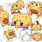 1other :3 blue_eyes commentary_request gen_5_pokemon joltik litwick poke_ball poke_ball_(basic) pokemon pokemon_(creature) pokemon_(game) polka_dot polka_dot_background signature translation_request zyunya